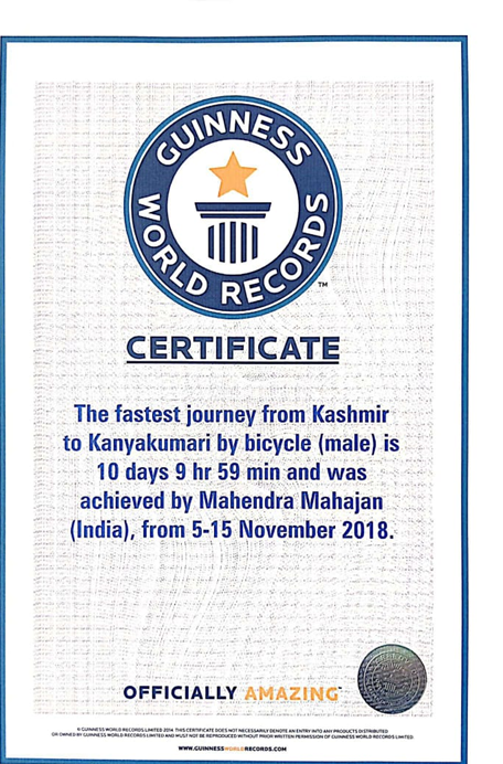 Certificate from Guinness World Records acknowledging Dr Mahendra Mahajan's fastest journey from Kashmir to Kanyakumari by bicycle.