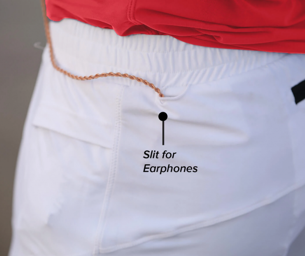 additional slit for earphones in athlos running shorts