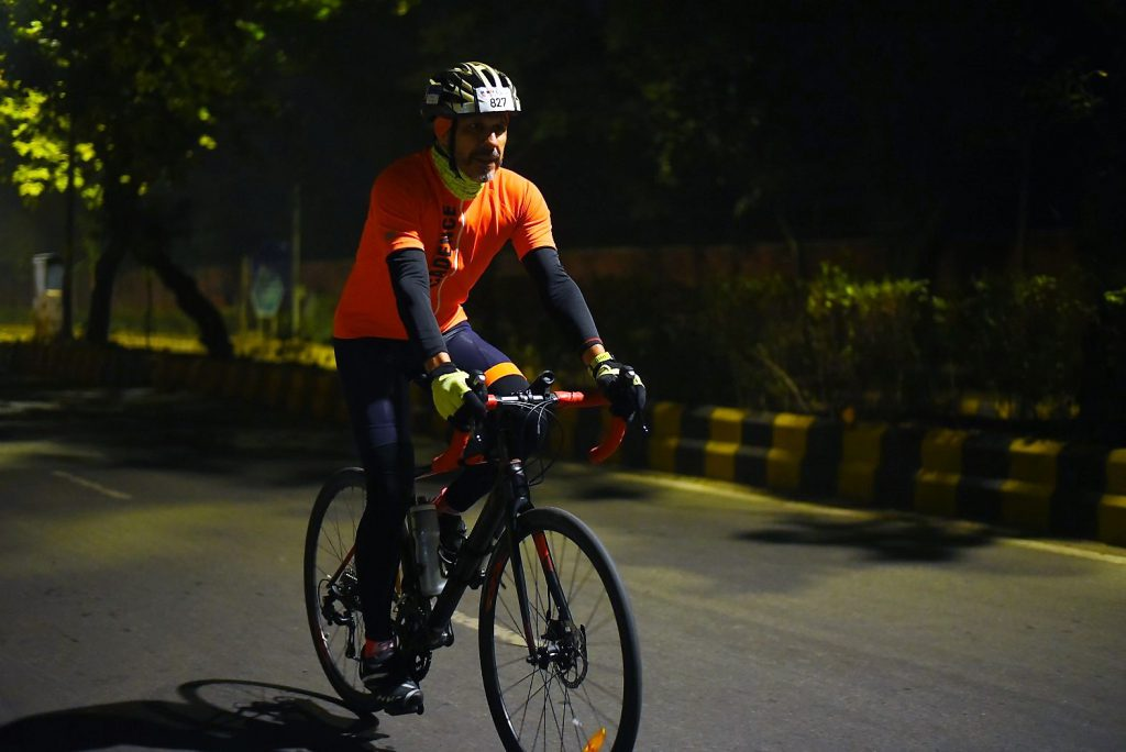 Cyclist Sanjay Sharma wearing the Endurance jersey during his night ride