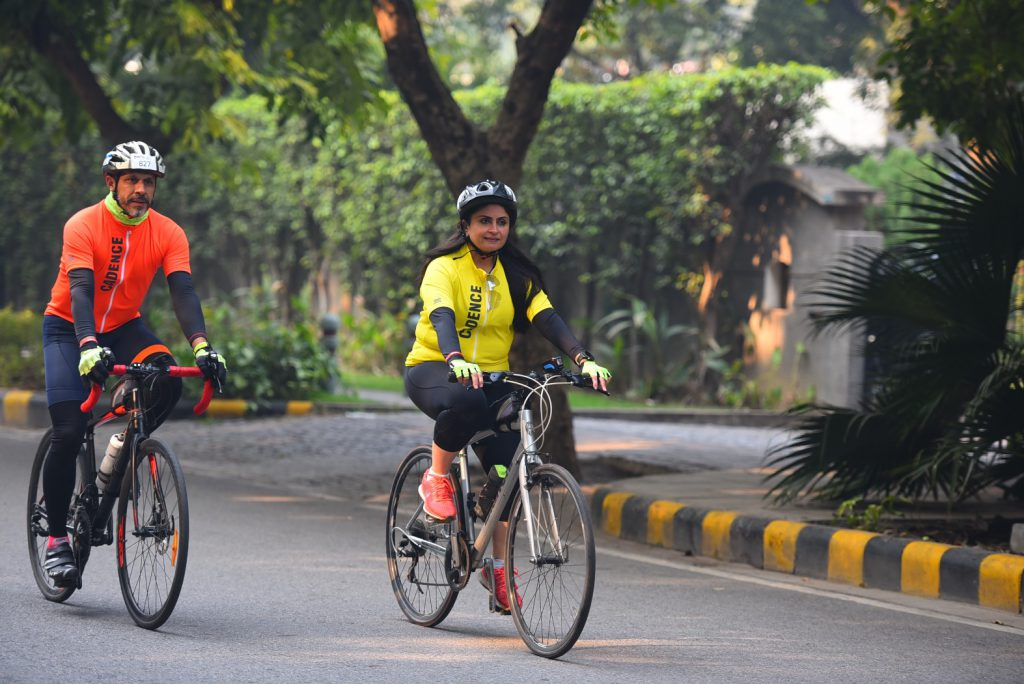 Cyclists Sanjay Sharma and Priti Zaveri testing the Endurance jersey in day and night ride.