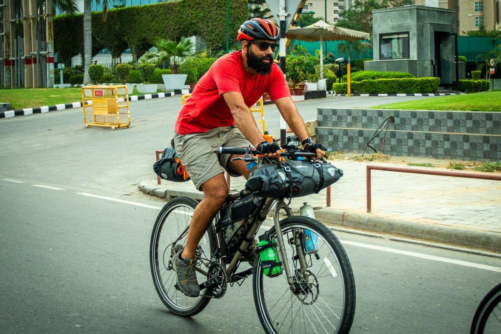 Practice rides in Delhi with my touring bike and full gear for Spiti