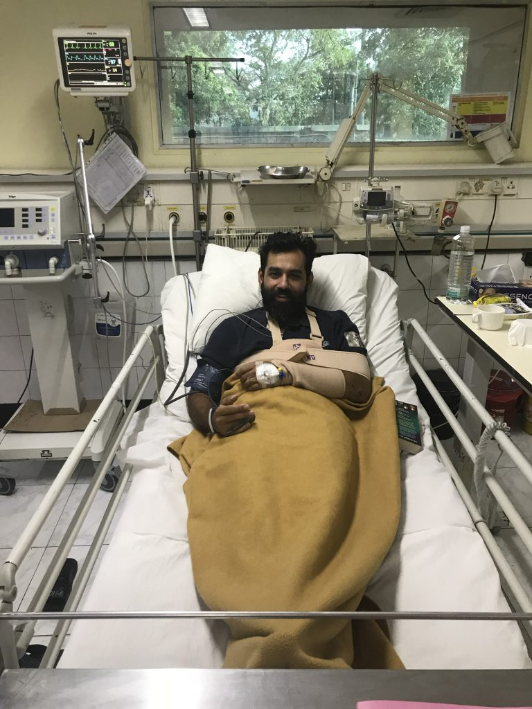 Recovering from a cycle crash at Moolchand Hospital, Delhi