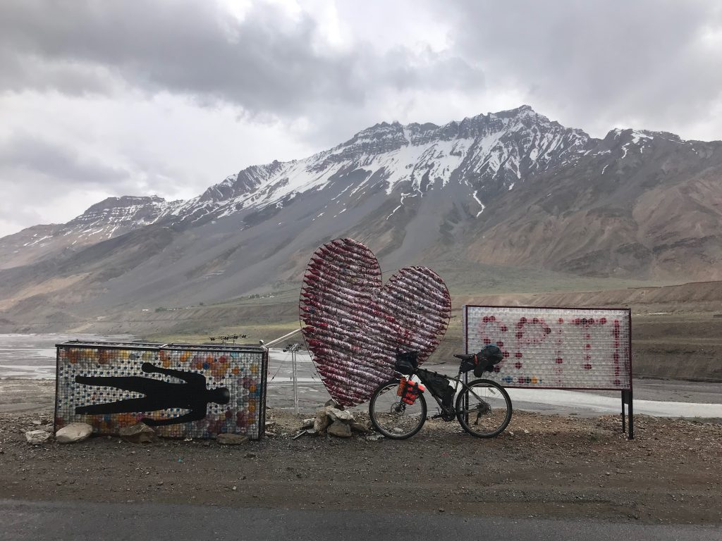 The recycled plastic bottle heart sign at Kaza.