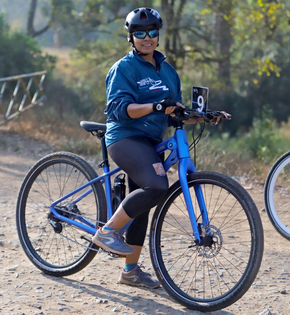 Meera velankar with the NBG 4 bmw cycle