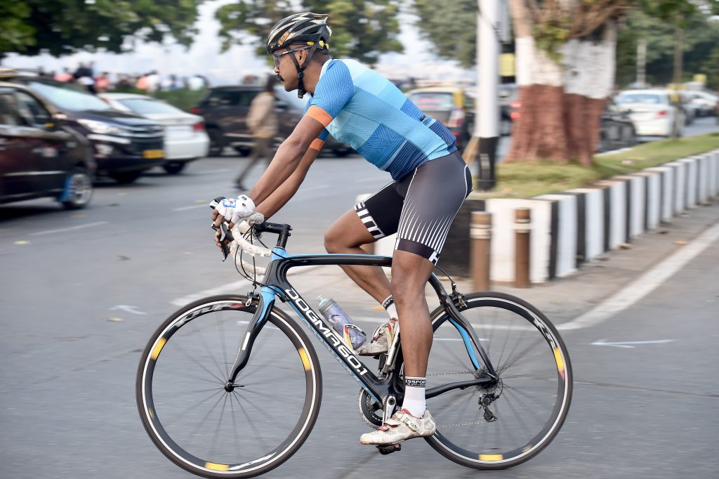 Cyclist Sumit Patil wearing the heini cycling jersey for its testing.