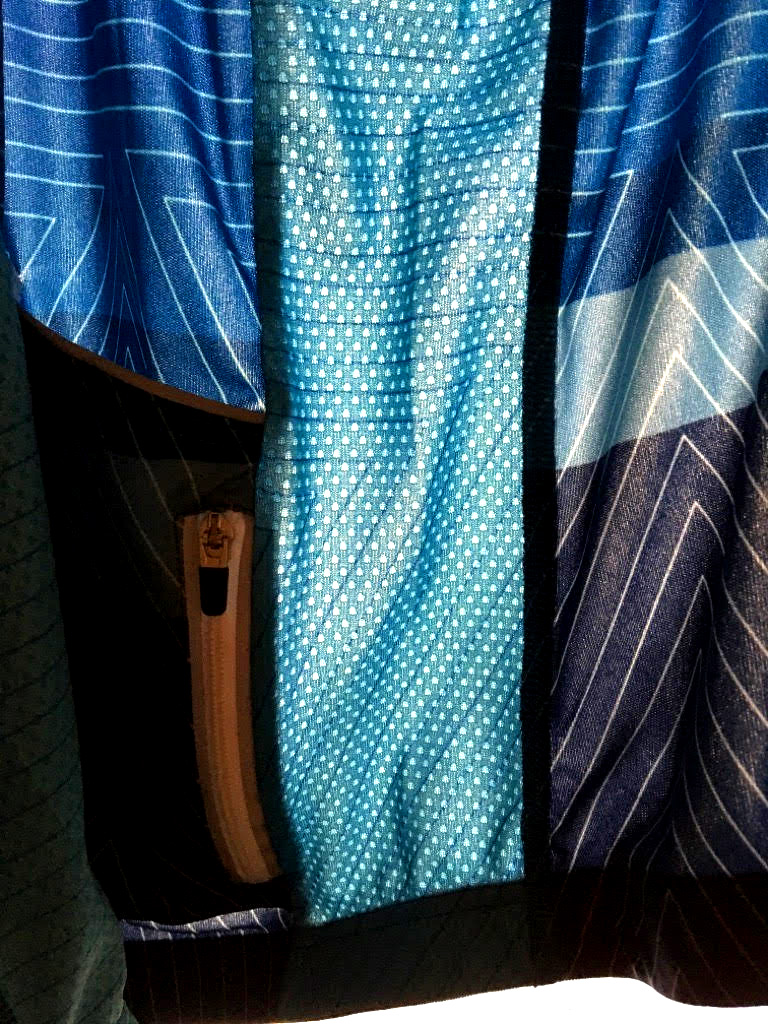 Inside material view of heini cycling jersey.